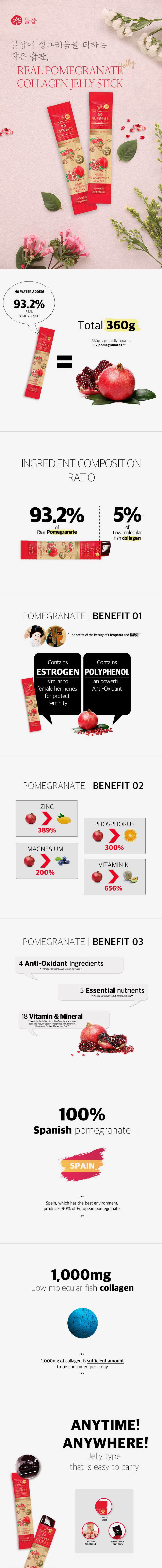Real pomegranate collagen jelly stick