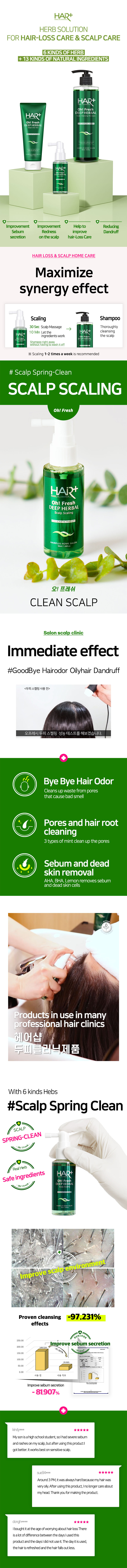 HAIRPLUS, Oh! fresh deep herbal scalp scaling